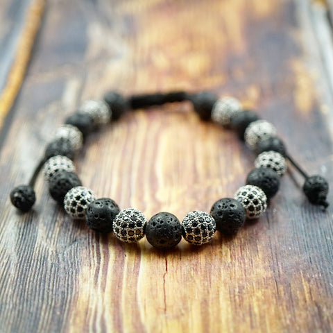 GentStone - White Gold, Black CZ Diamond & Lava Stone Macrame