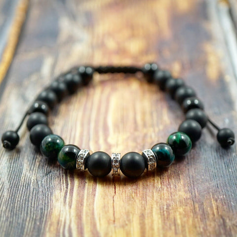 Green Tiger's Eye, Matte Onyx & White CZ Diamond Macrame