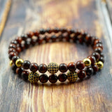 GentStone - Yellow Gold, Black CZ Diamond & Red Tiger's Eye Double Charm