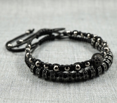 GentStone - Double Macrame - CZ Diamond Stoppers in Gunmetal