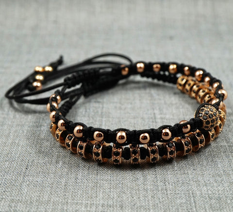 GentStone - Double Macrame - CZ Diamond Stoppers in Rose Gold