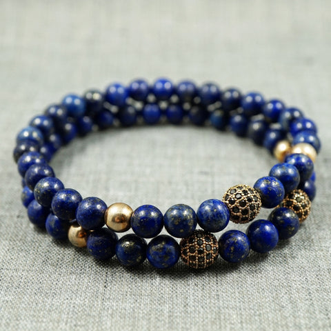 GentStone - Rose Gold, Black CZ Diamond & Lapis Lazuli Double Charm