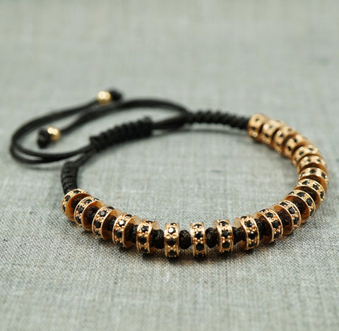 GentStone - Black CZ Diamond Stoppers Macrame - Rose Gold