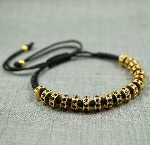 GentStone - Black CZ Diamond Stoppers Macrame - Yellow Gold