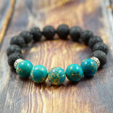Lava Stone, Light Blue Sea Sediment Jasper and Sterling Silver - 12mm GentStone Men's Beaded Bracelet