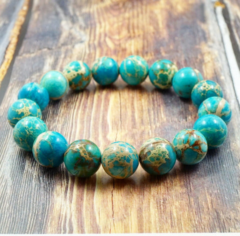 Light Blue Sea Sediment Jasper - 12mm GentStone Men's Bracelet