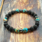 Light Blue Sea Sediment Jasper, Lava Stone and Hematite 8mm GentStone Men's Bracelet Women's Bracelet Handmade in Vancouver