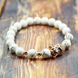 Lucky Buddha in Rose Gold, CZ Diamond and Howlite - 8mm GentStone Women's Bracelet
