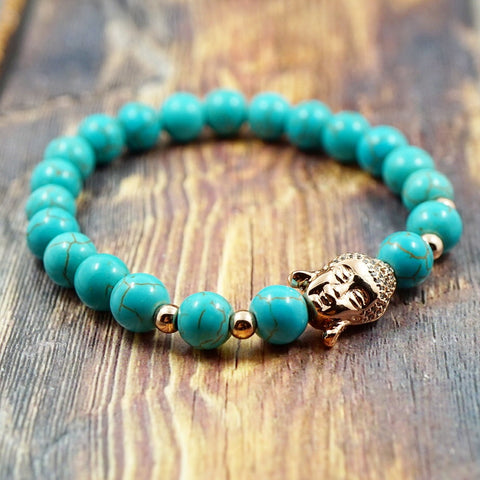 Lucky Buddha in Rose Gold, CZ Diamond and Turquoise - 8mm GentStone Bracelet