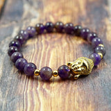 Lucky Buddha in Yellow Gold, CZ Diamond and Amethyst - 8mm GentStone Bracelet