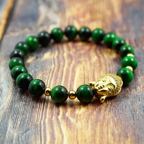 Lucky Buddha in Yellow Gold, CZ Diamond and Green Tiger's Eye - 8mm GentStone Bracelet