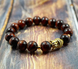 Lucky Buddha in Yellow Gold, CZ Diamond and Red Tiger's Eye - 12mm GentStone Men's Bracelet