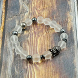 Lucky Buddha in Gunmetal, CZ Diamond, Hematite and Matte Clear Quartz  - 10mm and 8mm GentStone Handmade Men's Bracelet Women's Bracelet Made in Vancouver