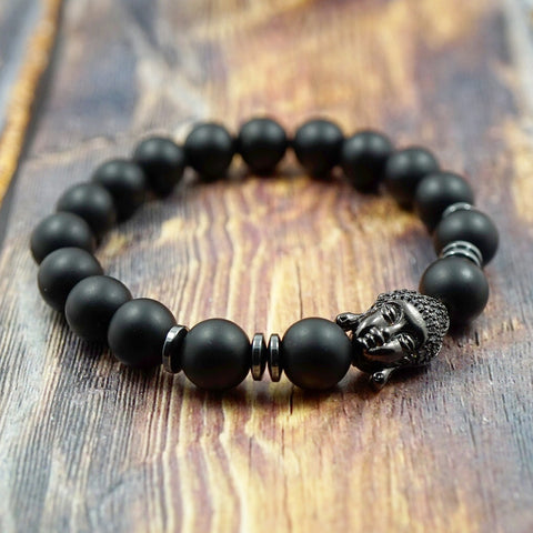 Lucky Buddha in Gunmetal, CZ Diamond, Hematite and Matte Onyx - 10mm GentStone Men's Bracelet