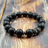 Lucky Buddha in Gunmetal, CZ Diamond, Hematite and Matte Onyx - 12mm GentStone Men's Bracelet