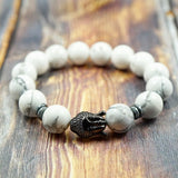 Lucky Buddha in Gunmetal, CZ Diamond, Hematite and Howlite - 12mm GentStone Men's Bracelet