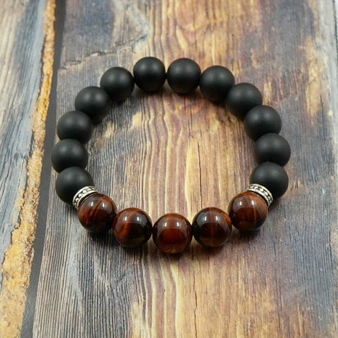 Matte Onyx, Red Tiger's Eye and Sterling Silver - 12mm GentStone Handmade Men's Bracelet Women's Bracelet