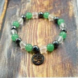 OM in Gunmetal, CZ Diamond, Aventurine, Clear Quartz and Hematite 8mm GentStone Women's Bracelet Men's Bracelet Handmade in Vancouver