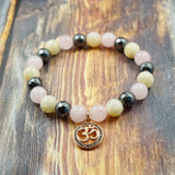 OM in Rose Gold, CZ Diamond, Moonstone, Rose Quartz and Hematite 8mm GentStone Women's Bracelet Men's Bracelet Handmade in Vancouver