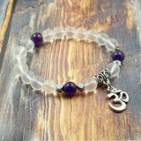 OM in Silver, Clear Quartz, Amethyst and Pyrite