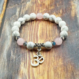 OM in Silver, Howlite, Rose Quartz and Pyrite 8mm GentStone Handmade Men's Bracelet Women's Bracelet Made in Vancouver