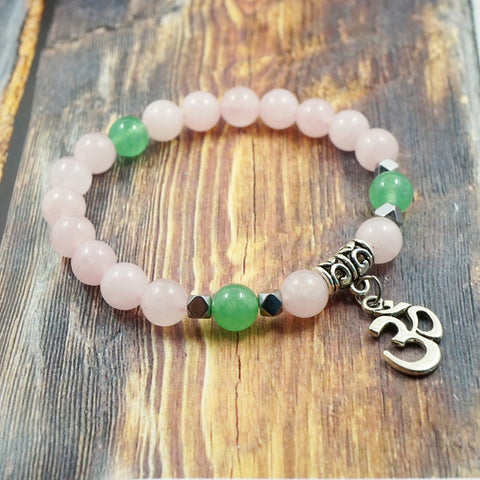 OM in Silver, Rose Quartz, Aventurine and Pyrite 8mm GentStone Handmade Men's Bracelet Women's Bracelet Made in Vancouver