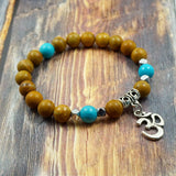 OM in Silver, Wood Grain Jasper, Imitation Turquoise and Pyrite 8mm GentStone Handmade Men's Bracelet Women's Bracelet Made in Vancouver