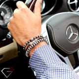 GentStone - Single Black CZ Diamond Ball Macrame - Rose Gold