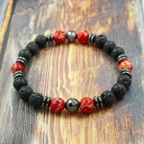 Red Sea Sediment Jasper, Lava Stone and Hematite 8mm GentStone Men's Bracelet Women's Bracelet Handmade in Vancouver