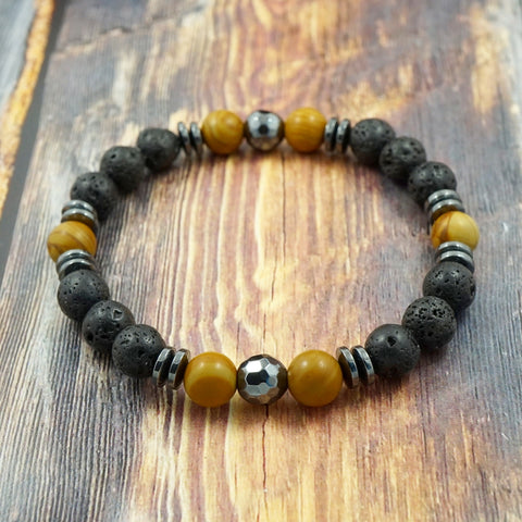 Wood Grain Jasper, Lava Stone and Hematite 8mm GentStone Men's Bracelet Women's Bracelet Handmade in Vancouver
