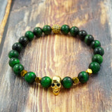 Yellow Gold Skull, Green Tiger's Eye, Pyrite, CZ Diamond GentStone Men's Bracelet Women's Bracelet Handmade in Vancouver