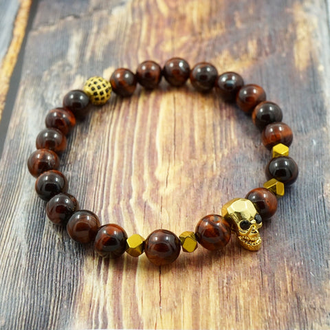 Yellow Gold Skull, Red Tiger's Eye, Pyrite, CZ Diamond GentStone Men's Bracelet Women's Bracelet Handmade in Vancouver