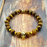 Yellow Gold Skull, Yellow Tiger's Eye, Pyrite, CZ Diamond GentStone Men's Bracelet Women's Bracelet Handmade in Vancouver