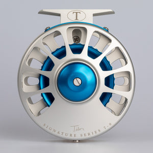 Tibor Reels - Signature Series - Frost Silver with Blue
