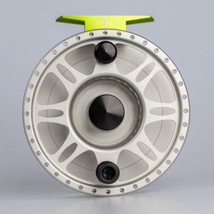 Tibor Reels - The Riptide - Frost Silver with Lime - Custom Tarpon Engraving