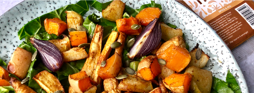 Root Vegetable Salad with Squash and Spring Greens
