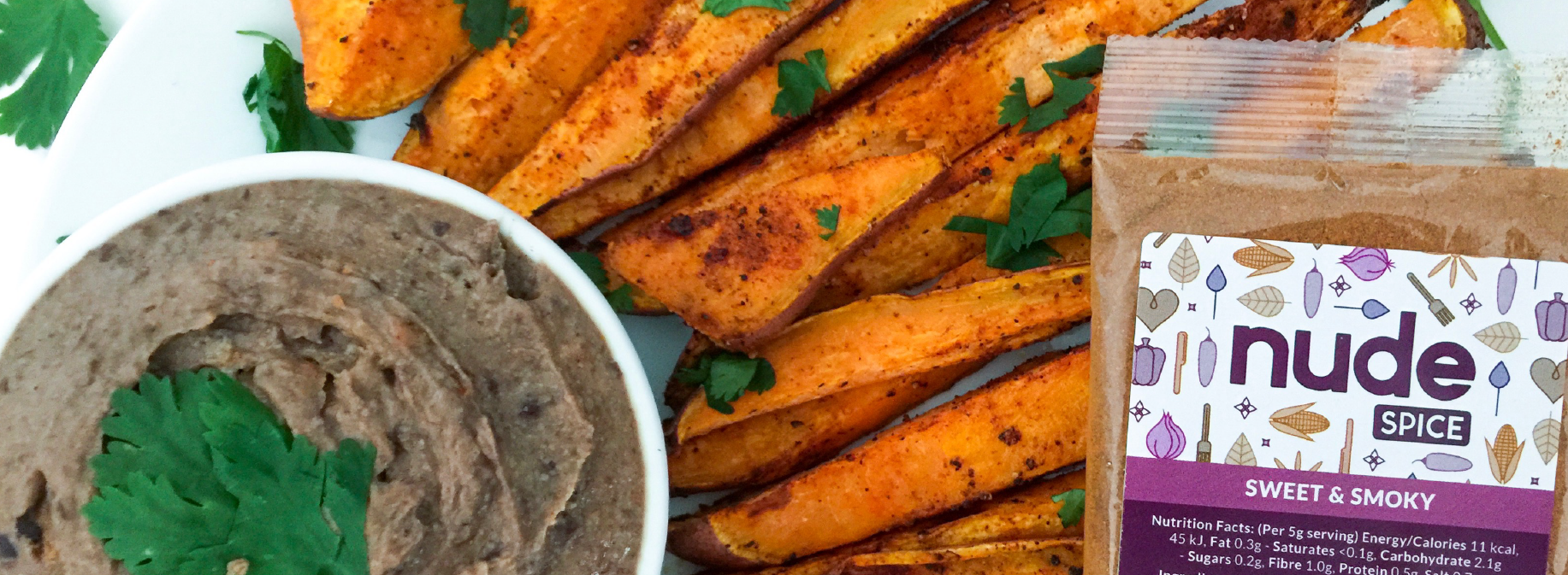 Spicy Black Bean Hummus with Sweet Potato Fries