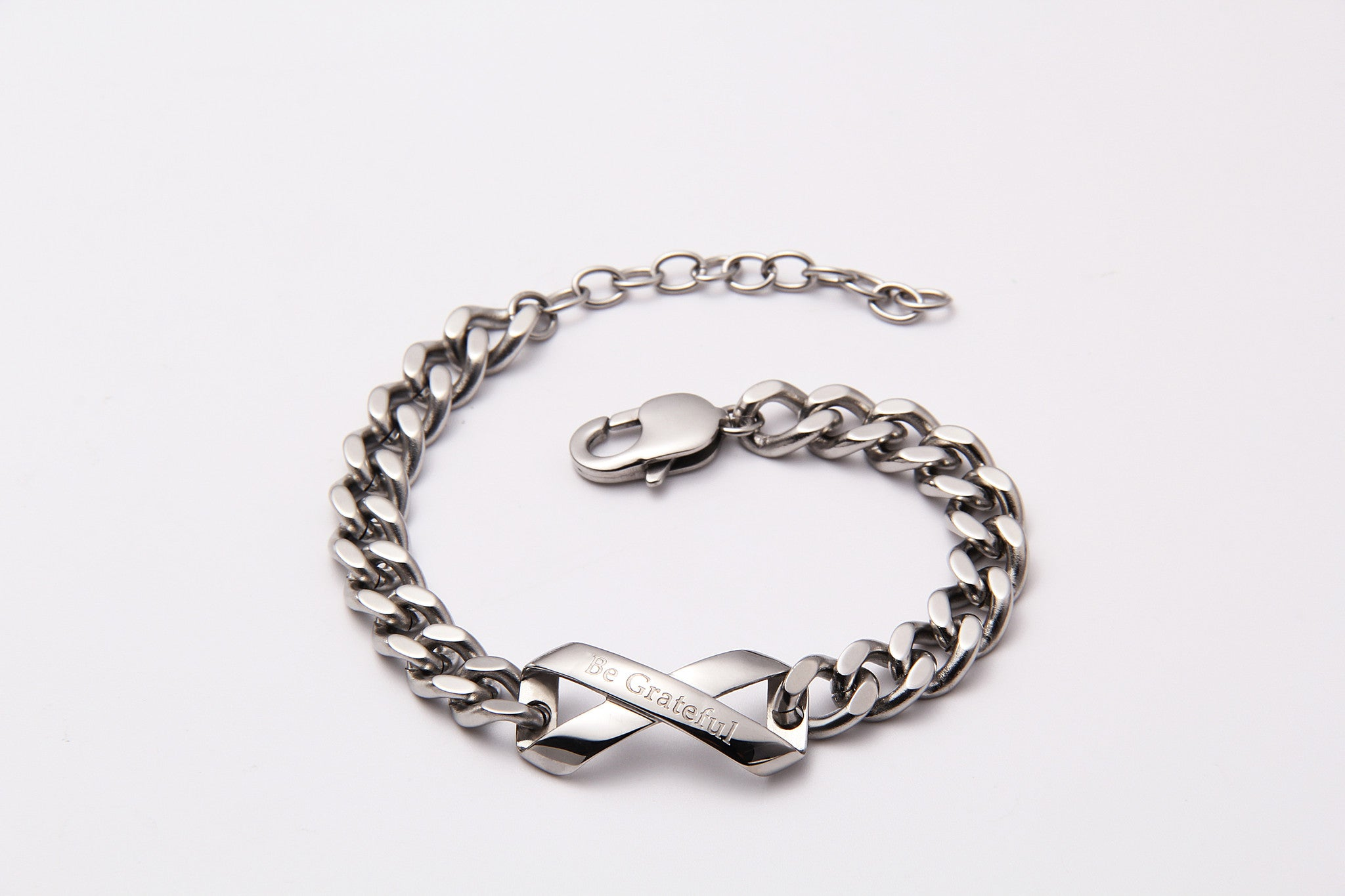 "Silver ""Be Grateful"" Link Bracelet - Infinite Reminders"