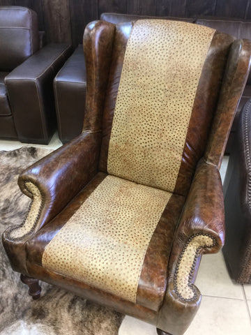 custom leather wingback chair