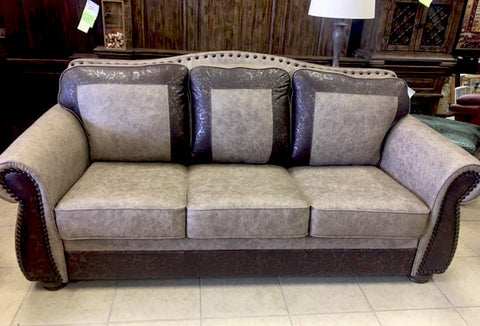 Custom sofa with superior grade leather, by Our Stuff in Levelland.