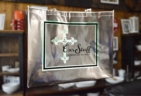 Our Stuff Silver Shopping Bag.