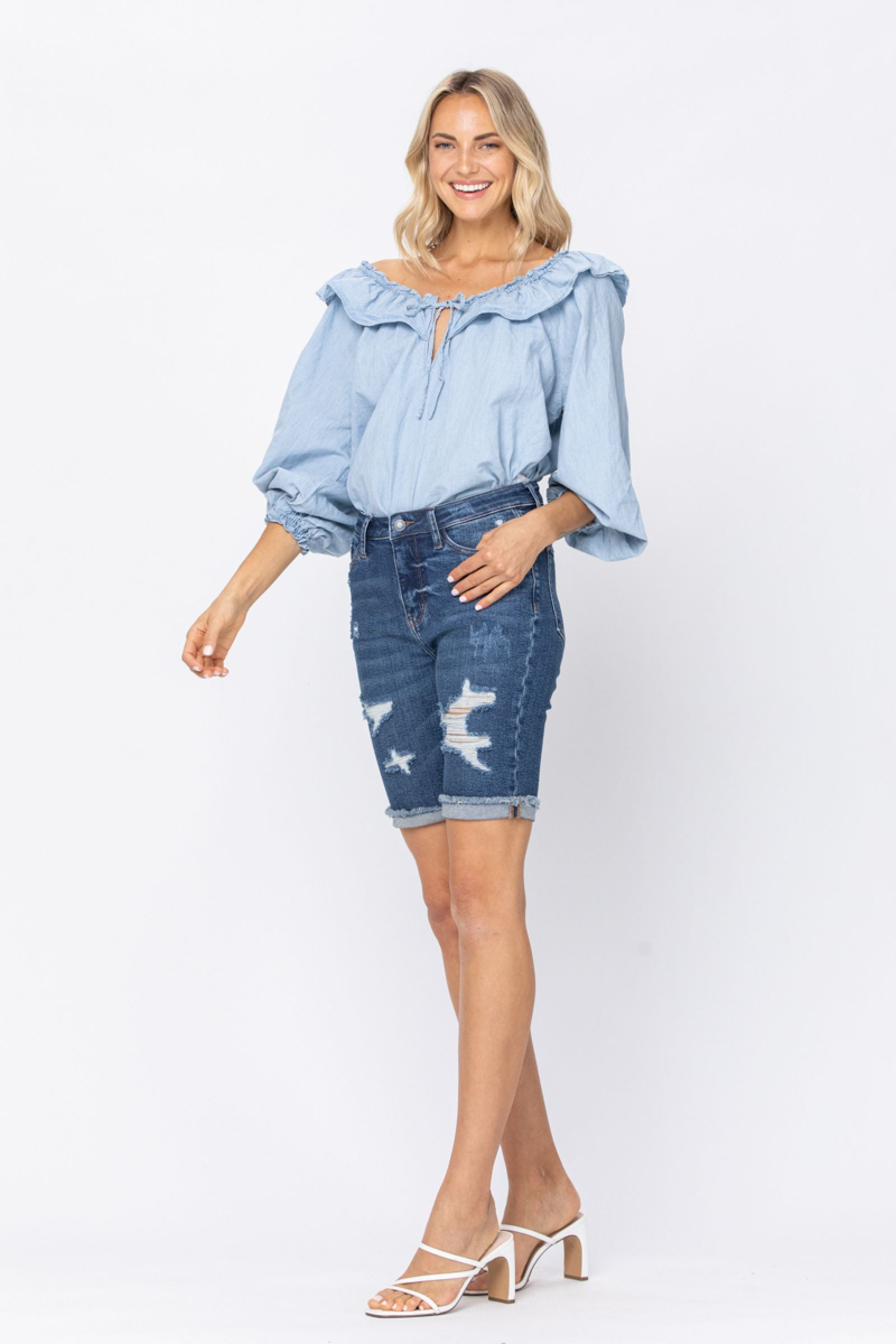 Judy Blue High Waist Distressed Burmuda Shorts