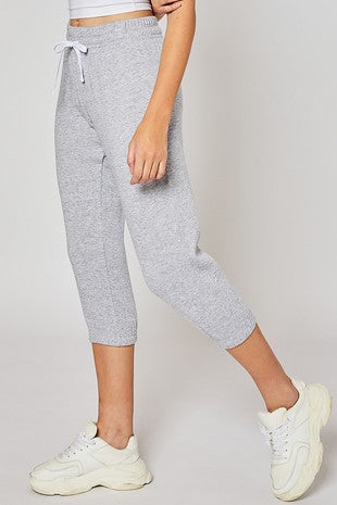 Gray With White Drawstring Capri