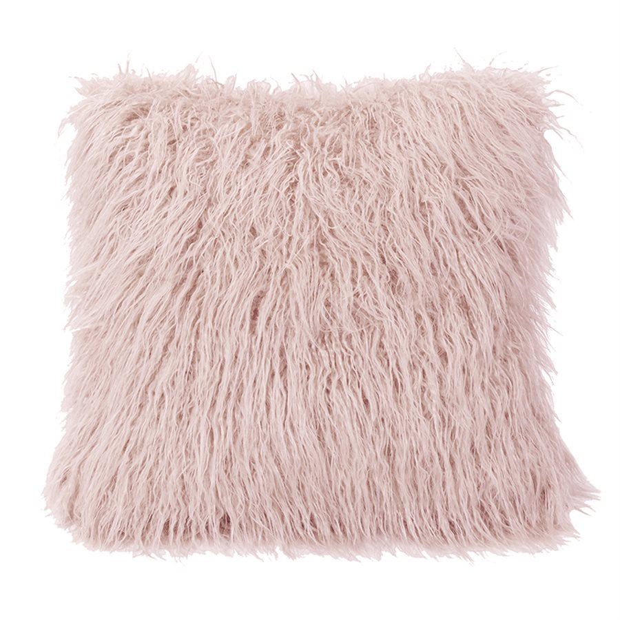 Mongolian Faux Fur Pillow - Blush