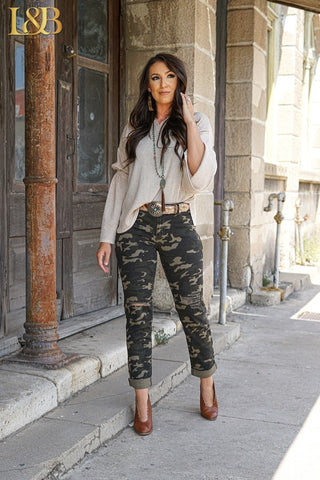 Camo Distressed Boyfriend Jean