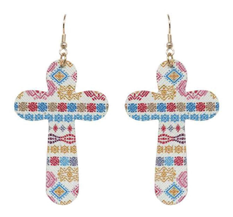 Mixed Aztec Pattern Cross Earrings
