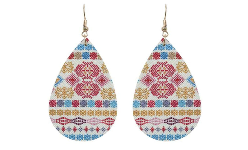 Mixed Aztec Pattern Teardrop Earrings