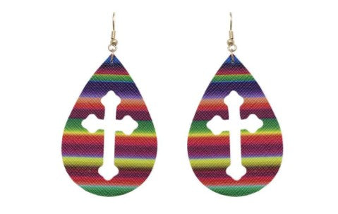 Serape Cross Cutout Teardrop Earrings