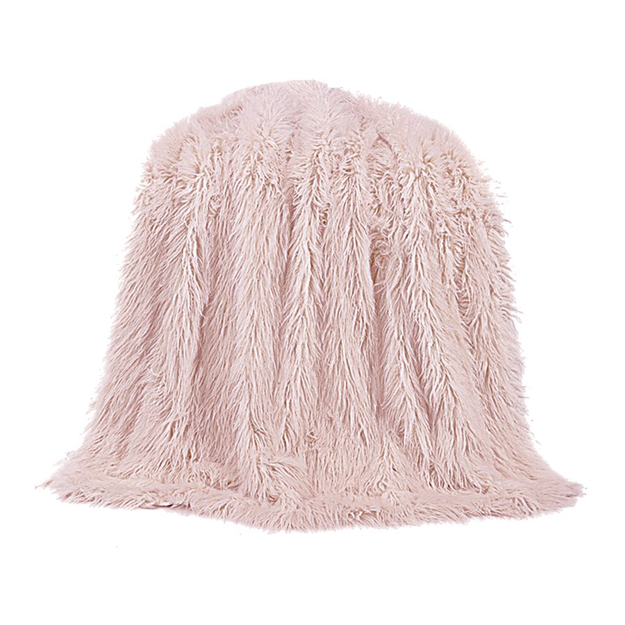 Mongolian Faux Fur Throw - Blush