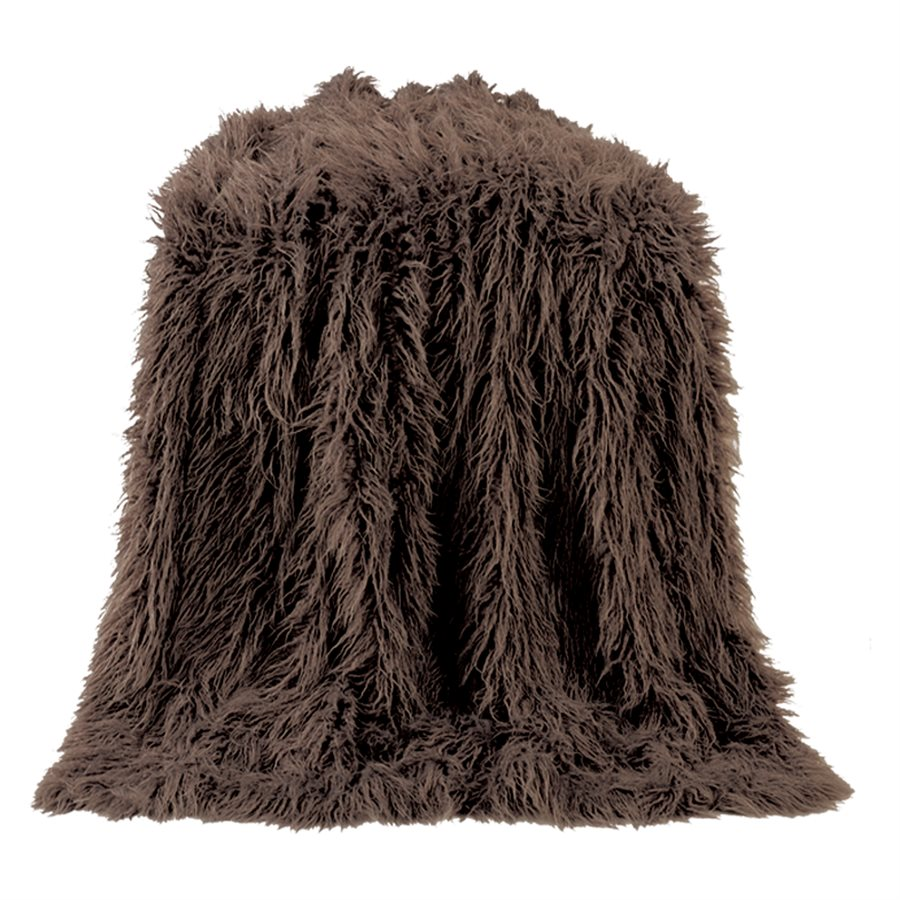 Mongolian Faux Fur Throw - Chocolate